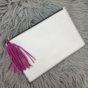 {New} Fossil Audri White Pink Tassel Clutch Bag